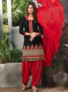 c1466e0d14 Black Cotton Punjabi Suit 114479 Indian Fashion Salwar, Salwar Suits  Pakistani, Patiala Salwar,