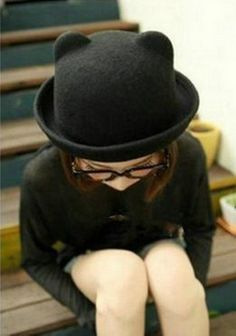 Black super cute bowler hat with kitty ears