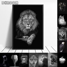 Animal Canvas Painting Wall Art Lion Elephant Horse Posters and Prints Wall Pictures for Living Room Decoration Home Decor Abstract Canvas Art, Canvas Wall Art, Wall Art Prints, Poster Prints, Canvas Prints, Living Room Pictures, Wall Pictures, Horse Posters, Picture Wall