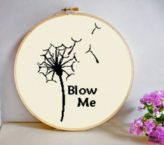 Blow Me Dandelion Seed Head Cross Stitch Pattern PDF Instant Download Sarcastic Rude modern room decor Joke Nature make a wish by HeritageStitch on Etsy