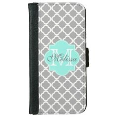Gray Aqua Girly Cute Monogram Quatrefoil Pattern