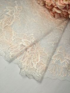 Ivory sheer stretch lace trim with peach flowers by the yard | Etsy Snowflake Quilt, Lace Trim Shorts, Peach Flowers, Stretch Lace, Lace Fabric, Stretches, Swatch, Craft Supplies, Ivory