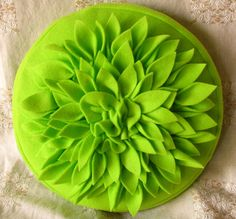 Neon Green Fleece Flower Petal Pillow Round by sweetiepiesuite, $28.00