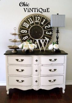 French Provincial Dresser ~ Buffet White/Black Painted furniture, Wedding Idea