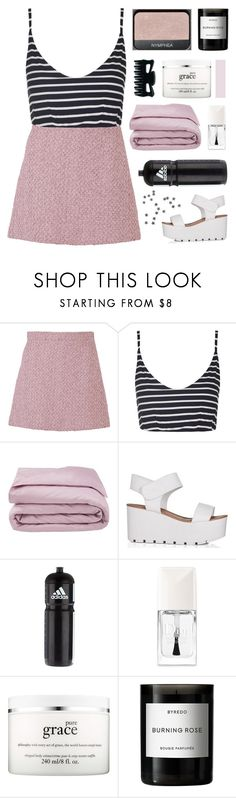 """""""– say my name and everything just stops"""" by neutral-bunny ❤ liked on Polyvore featuring Gucci, Topshop, Frette, adidas, Christian Dior, philosophy and Byredo"""