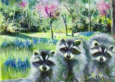 SOLD~~ACEO Raccoons & spring flowers Original by CritterArtDelights, $18.50
