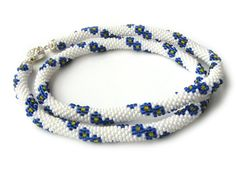 Beaded crochet rope necklace - White beaded rope necklace with small blue flowers - Seed beads jewelry - Flower pattern - Gift for her