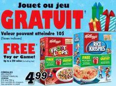 Coupons et Circulaires: 4,99$ Céréales KELLOGG + Jouet GRATUIT