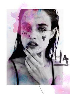 Mixed Media Fashion Collage by Rebecca Coltorti | Model: Bianca Padilla