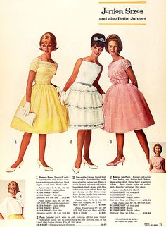 Juniors fashion | Sears 1964. The prices for those beautiful dresses.