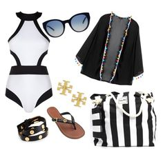 """""""Black and white and Tory all over."""" by vrhandbags on Polyvore featuring Oye Swimwear and Tory Burch"""