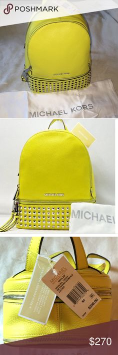 Michael Kors Rhea Backpack Michael Kors Rhea Zip Backpack- Canary                NWT- Retail $358                                                      Pristine Condition, never worn/used, comes with dustbag Michael Kors Bags Backpacks
