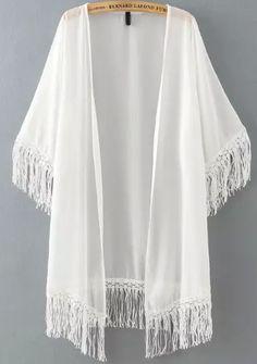 White Half Sleeve Tassel Chiffon Kimono -SheIn(Sheinside)