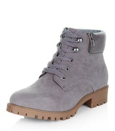 Teens Grey Lace Up Ankle Boots | New Look