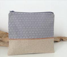 pochette en tissu japonais gris . : Trousses par lilihouat