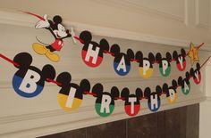 Banner de cumpleaños de Mickey Mouse por FeistyFarmersWife en Etsy
