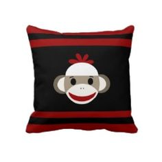Cute Smiling Sock Monkey Face on Red Black Throw Pillow