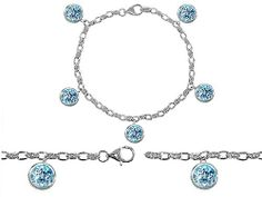Original Star K(tm) High End Tennis Charm Bracelet With 5pcs 7mm Round Simulated Aquamarine in 925 Sterling Silver -