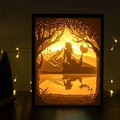 Papercut Light Boxes, Shadow Box Led Light Night lamp, Decorative Mood Light for Kids and Adults, Baby Nursery Kids Bedroom Living Room Night Light(The Little Mermaid) Shadow Box Kunst, Shadow Box Art, Kirigami, Paper Cutting, Paper Art, Paper Crafts, Paper Light, Mood Light, The Little Mermaid