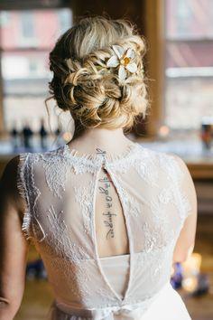 elegant wedding hair, photo by Cyrience Creative Studios http://ruffledblog.com/fall-wedding-inspiration-with-a-cider-bar #weddinghair #bridal #brides