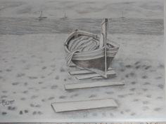 Sobre la arena. Carboncillo sobre papel canson