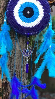 Morski by Ma Ko Bo - Salvabrani Crochet Dreamcatcher Pattern Free, Crochet Mandala Pattern, Crochet Patterns, Crochet Eyes, Crochet Diy, Love Crochet, Dream Catcher Decor, Dream Catcher Mobile, Crochet Decoration