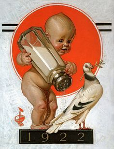 Saturday Evening Post 'New Year's Baby' cover art by JC Leyendecker, December 1921