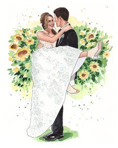 Wedding Drawing, Wedding Painting, Wedding Art, Watercolor Wedding, Wedding Vintage, Wedding Menu, Watercolor Paper, Wedding Ideas, Custom Wedding Gifts