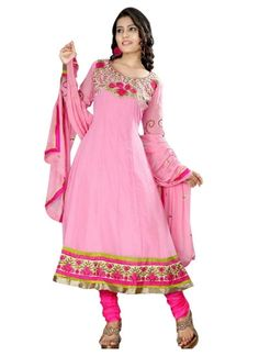 Pink Embroidery Work Georgette Anarkali Suit Online http://www.angelnx.com/Salwar-Kameez/Anarkali-Suits