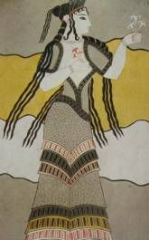One of the three skirt styles from the Minoans. The style is made of a series of horizontal V-shaped ruffles or flounces. Greek History, Ancient History, Art History, Ancient Greek Art, Ancient Greece, Minoan Art, Bronze Age Civilization, Mycenaean, Ancient Civilizations