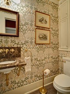 Love the Craftsman style wallpaper by Trustworth Studios, love the sink.