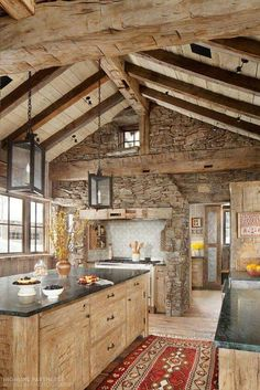I love the rustic look of a wood and stone kitchen. I love the rustic look of a wood and stone kitchen. Rustic Kitchen Design, Kitchen Wood, Rustic House Design, Barn Kitchen, Kitchen Walls, Kitchen Living, Log House Kitchen, Kitchen Interior, Stone Kitchen Island