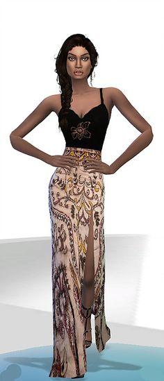 Long dress by nereida at Niriidaniriis – Fashiontale Sims4 via Sims 4 Updates