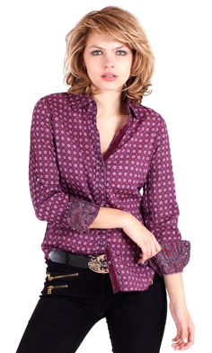 CINO - 100% cotton voile print button down shirt with roll-up sleeve detail and contrast print detail and velvet ribbon trim.