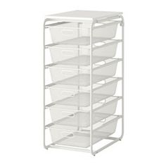 IKEA - ALGOT, Frame with 6 mesh baskets/top shelf, The parts in the ALGOT series can be combined in many different ways and easily adapted to your needs and space.When you complete your ALGOT frame with baskets from the same series you have a smart storage solution that fits anywhere in your home.Can also be used in bathrooms and other damp indoor areas.With ALGOT top shelf, you can create a practical extra work surface on all frames in the same series.Also stands steady on an uneven flo...