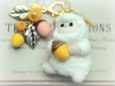 Soft sculpture sheep doll with acorns bag charm by NozomiCrafts, $22.00