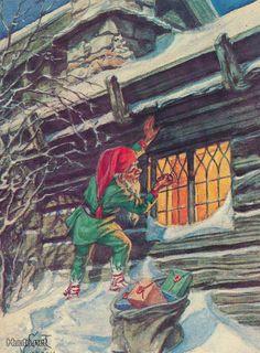 Curt Nyström Whimsical Christmas, Christmas Deco, Vintage Christmas, Fairy Land, Fairy Tales, Christmas Knomes, Troll, Mythological Creatures, Vintage Cards
