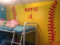Softball themed bedroom stuff to try Softball Room Decor, Softball Decorations, Softball Bedroom Ideas, Bedroom Themes, Girls Bedroom, Bedroom Decor, Bedroom Stuff, Dream Bedroom, Bedroom Wall