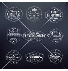 Christmas vintage typography badges set on noble vector - by createvil on VectorStock®