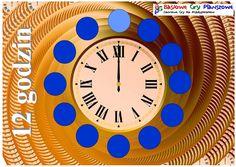 12 godzinto gra planszowa,w której dzieci zbierają 5-ciominutowe kryształy. Graczeuczą się pojęć czasowych ścigając się wokół tarczy zegara. Poznają, że godzina składa się z 60 minut oraz co to jest pół godziny i kwadrans.   Liczba graczy:   2-4  Ta gra planszowa może służyć do nauki: