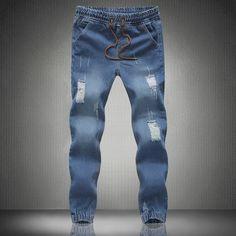 2016 Jeans Men Denim Pants Male Slim Straight Regular Scratched Jeans Casual Denim Overalls Men Solid Skinny Jean Pants HY449