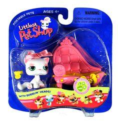 "Amazon.com : Hasbro Year 2006 Littlest Pet Shop Portable Pets ""Super Sassy Pets"" Series Bobble Head Pet Figure Set #148 - White Longhair Kit..."