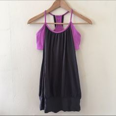 Grey Lululemon No Limits Tank sz 6 Grey body with purple bra. Lightly worn in good condition. Sz 6 no trades no PayPal no other sites lululemon athletica Tops