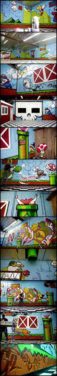 Mario Bros Wall Mural Graffiti - SLICK x CALE of K2S, rock a Super Mario Bros themed production at DISSIZIT's new Compton compound.