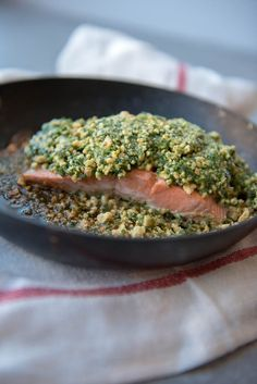 This Keto salmon recipe is incredibly, like INCREDIBLY delicious and also Paleo, gluten-free, and dairy-free. I licked my plate after eating it, it was that good! The recipe is from The Keto Paleo Kitchen cookbook and I'm sharing it here. Spicy Recipes, Salmon Recipes, Keto Recipes, Healthy Recipes, Salmon Meals, Free Recipes, Seafood Recipes, Seafood Meals, Roast Recipes