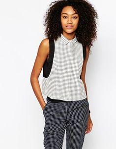 Vero Moda Sleeveless Grid Print Shirt