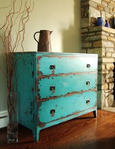 Antiqued Teal Green Chest of Drawers
