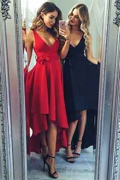 Beautiful red and black deep V neck formal wrap dresses, flowing skirts....perfection for prom or that hot date night with your beau!