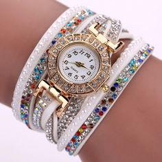 Fashion Brand Women Watch Gold Quartz Watches Womens Dress Watch Crystal Clock Leather Bracelet Watches Relogio Feminino