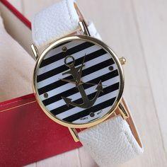 Nautical Theme Geneva Quartz Watch w/ Anchor Face (White/Black)